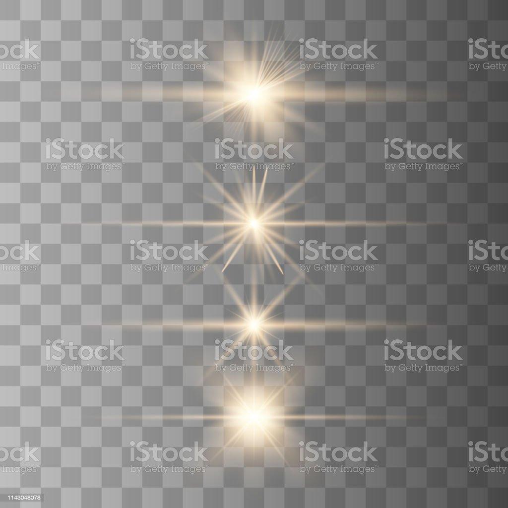 Lens flare. Gold lights. Vector illustration