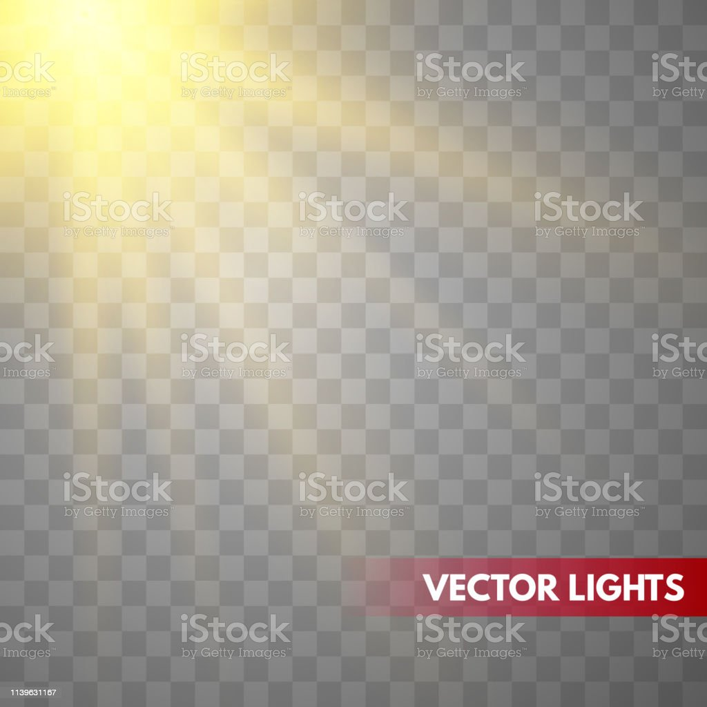 Lens flare light effect. Sun rays with beams . Vector illustration...