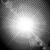 Lens flare on a transparent background