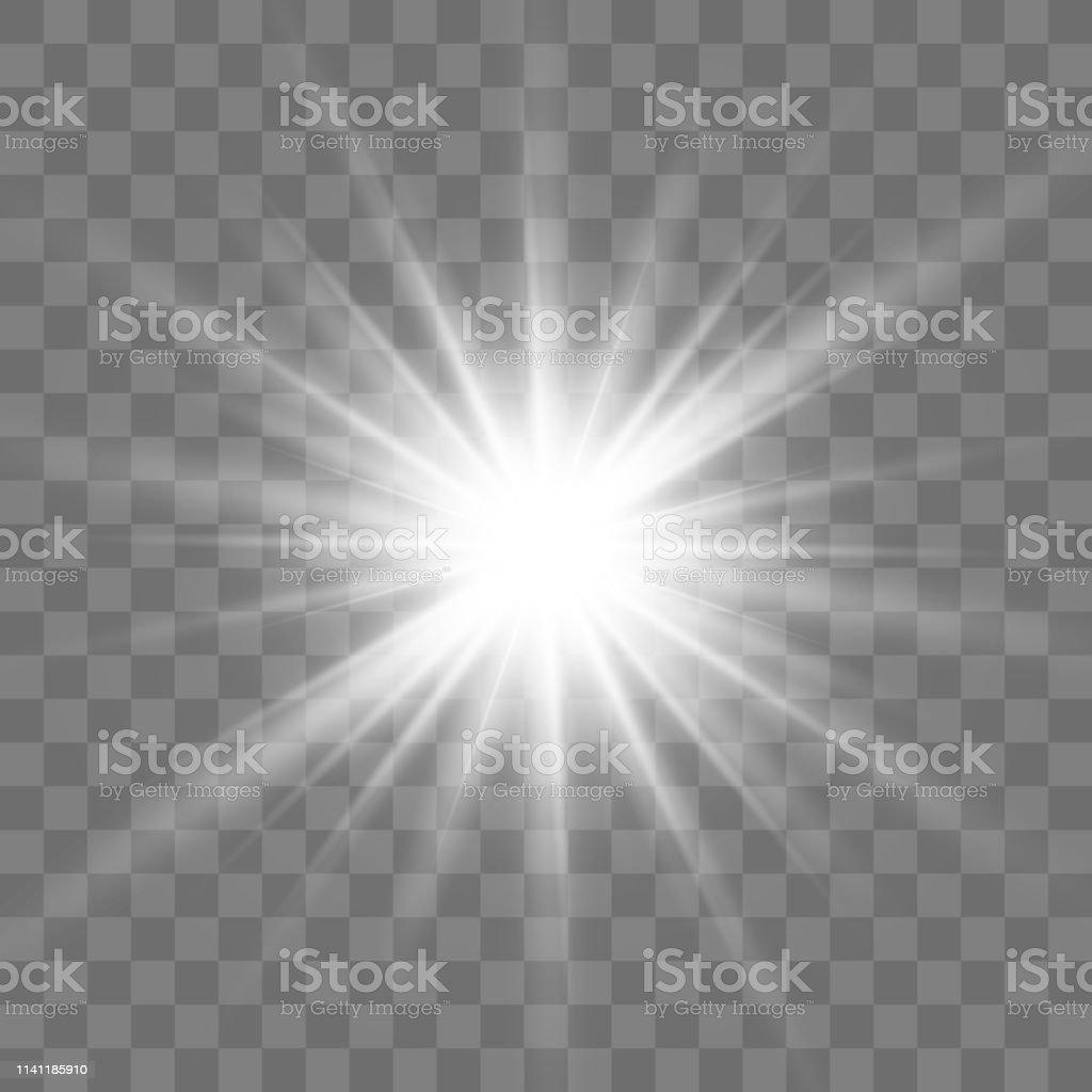 Lens flare vector illustration. Glowing star