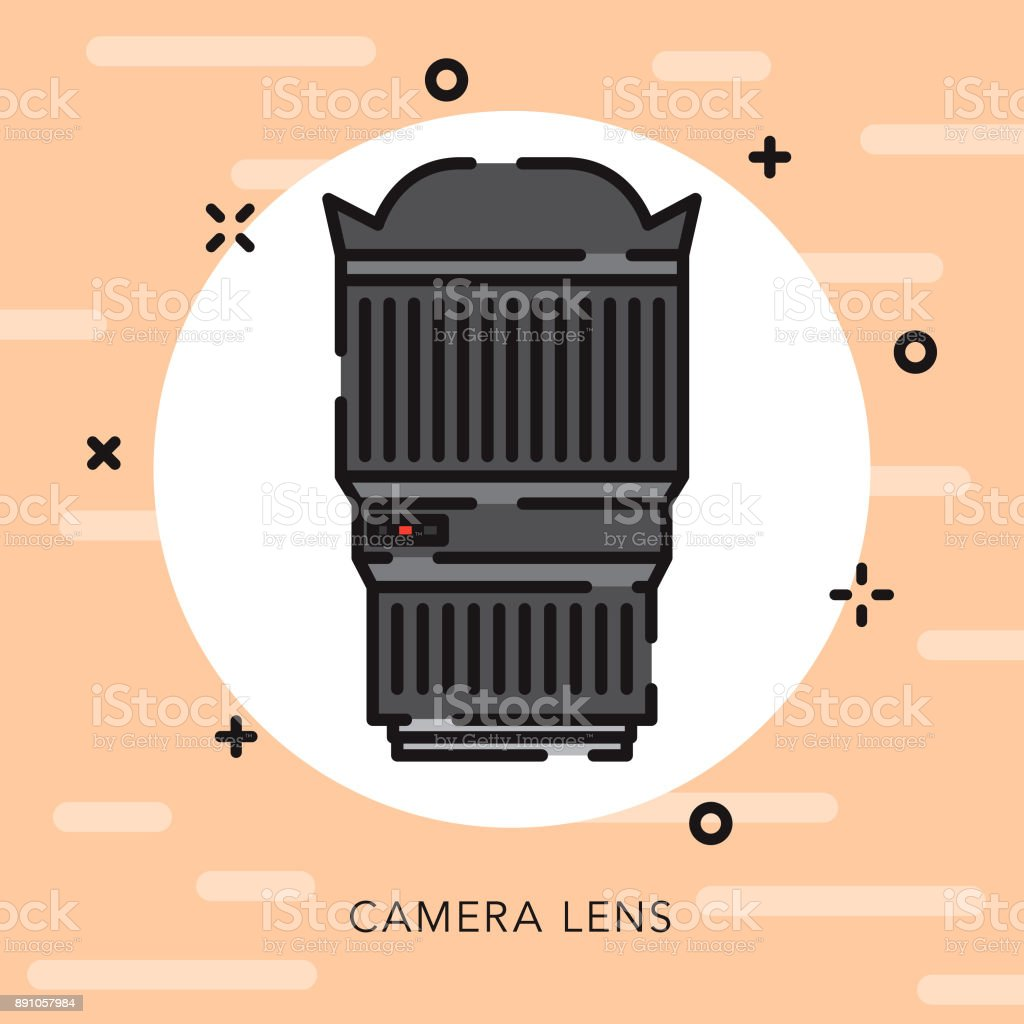 A flat design/thin line photography icon with small openings in the...