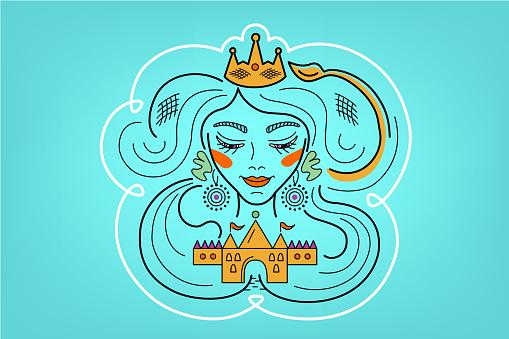 Leo constellation, zodiac sign, illustration of girl on blue background.