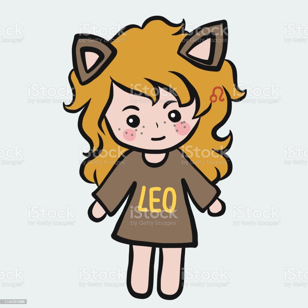 Leo Fille Horoscope Dessin Animé Vecteur Illustration Doodle