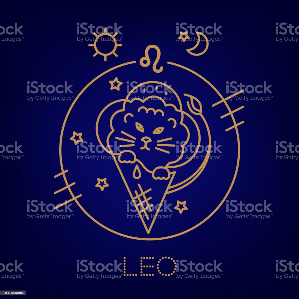 Leo Lion Cub Zodiac Sign Logo Tattoo Or Illustration Food Horoscope