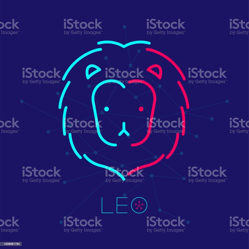 Leo Zodiac Constellation Logo Icône Contour Contour Défini