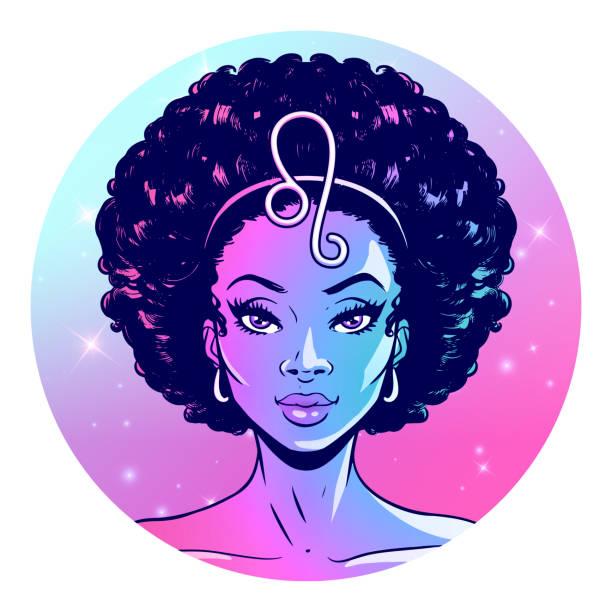 ilustraciones, imágenes clip art, dibujos animados e iconos de stock de signo del zodiaco leo ilustraciones, hermosa chica cara, símbolo del horóscopo, signo de la estrella, ilustración vectorial - africano americano