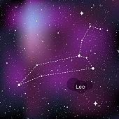 Leo zodiac sign. Horoscope symbol, linear constellation. Star universe background. Vector illustration