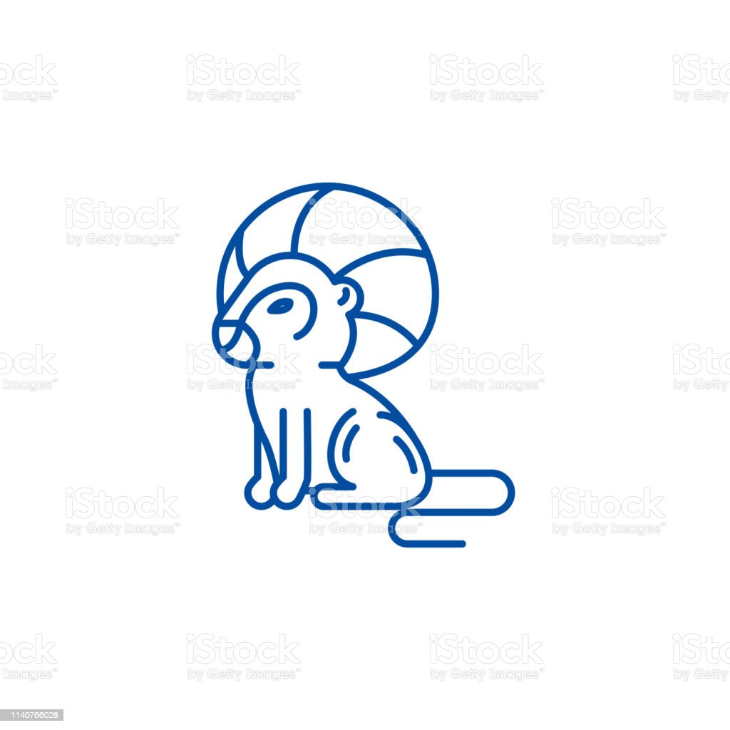 Leo Zodiac Sign Line Icon Concept Leo Zodiac Sign Flat Vector Symbol