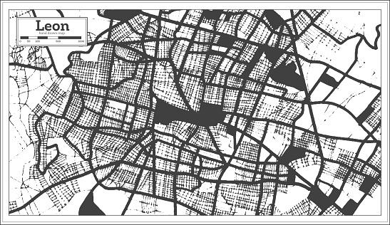 Leon Mexico City Map in Black and White Color in Retro Style.