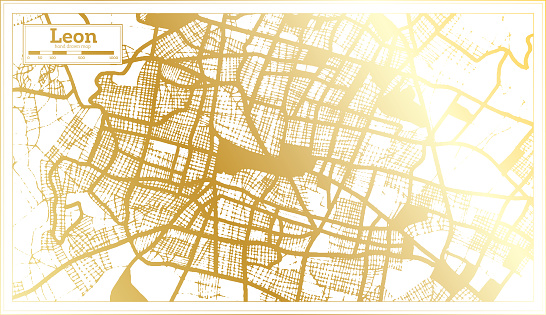 Leon Mexico City Map in Retro Style in Golden Color. Outline Map.