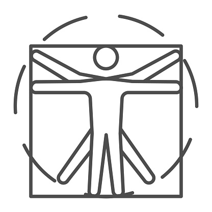 Leonardo Da Vinci Vitruvian Man thin line icon, science concept, Human body in circle and square sign on white background, classic proportion man form icon in outline style. Vector graphics