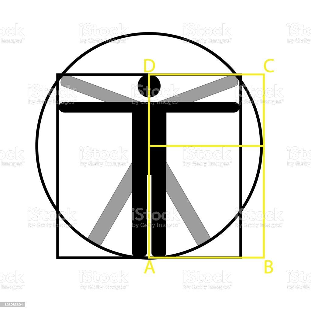 Leonardo Da Vinci Vitruvian Mann Vektor Icon Symboldesign Abbildung ...