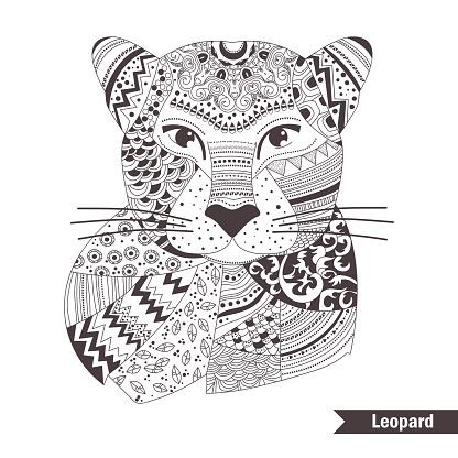 Leopard. Coloring book