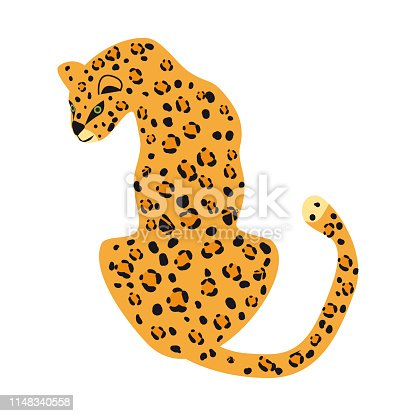 Leopard cute trend style, animal predator mammal, jungle