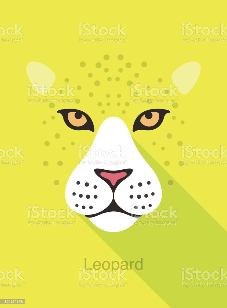 Leopard Face Flat Icon Simple Design Vector Illustration Stock