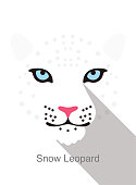 leopard face flat icon simple design, vector illustration