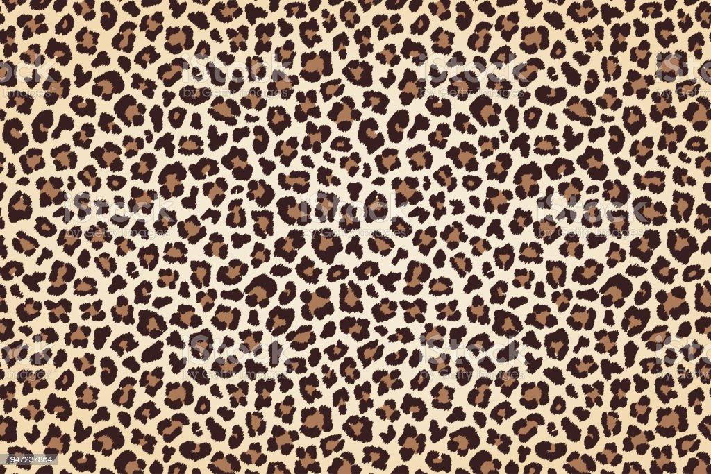 Leoparden-Fell drucken, horizontale Textur mit dunklen Rändern. Vektor – Vektorgrafik