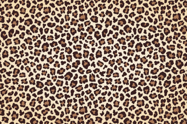 leopard fur print, horizontal texture with dark borders. vector - leopard texture stock illustrations
