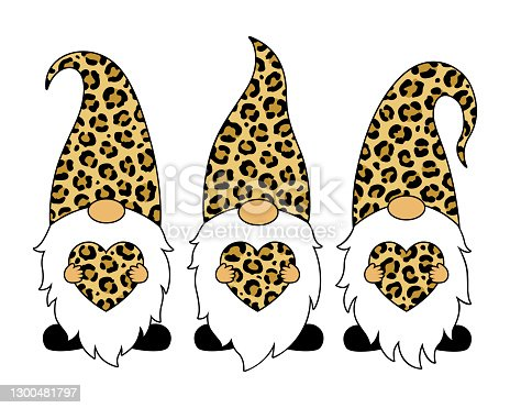 istock Leopard gnomes with hearts. Happy Valentines Day vector card. Cartoon style. 1300481797