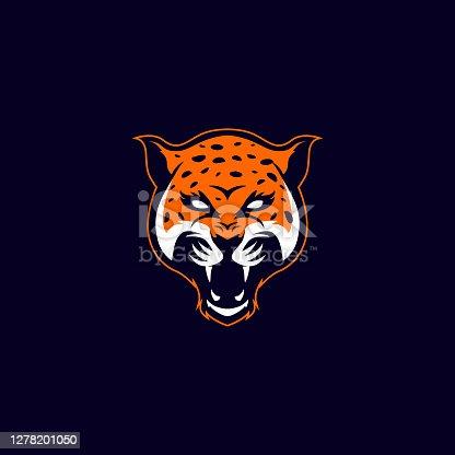 editable vector icon of a leopard head mascot icon with aggressive expression