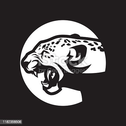 Angry leopard head silhouette. Attacking wild cat with open mouth - cut out vector icon