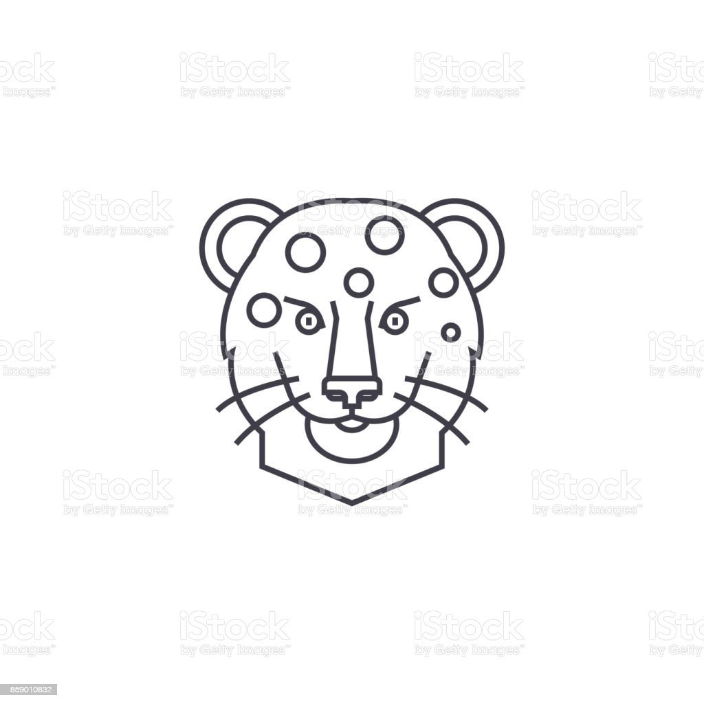 leopard head vector line icon, sign, illustration on background, editable strokes vector art illustration