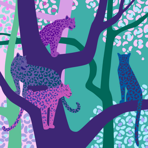 Leopard illustration. Wildlife. Leopards sit on tree branches. Vector wildlife illustration. Wild animal background in trendy flat cartoon design. Square canvas. Template for scarf, shawl, kerchief, card, poster. jaguar stock illustrations