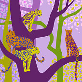 Leopards sit on tree branches. Vector wildlife illustration. Wild animal background in trendy flat cartoon design. Square canvas. Template for scarf, shawl, kerchief, card, poster.