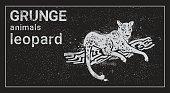 Leopard In Grunge Style Silhouette Hand Drawn Animal