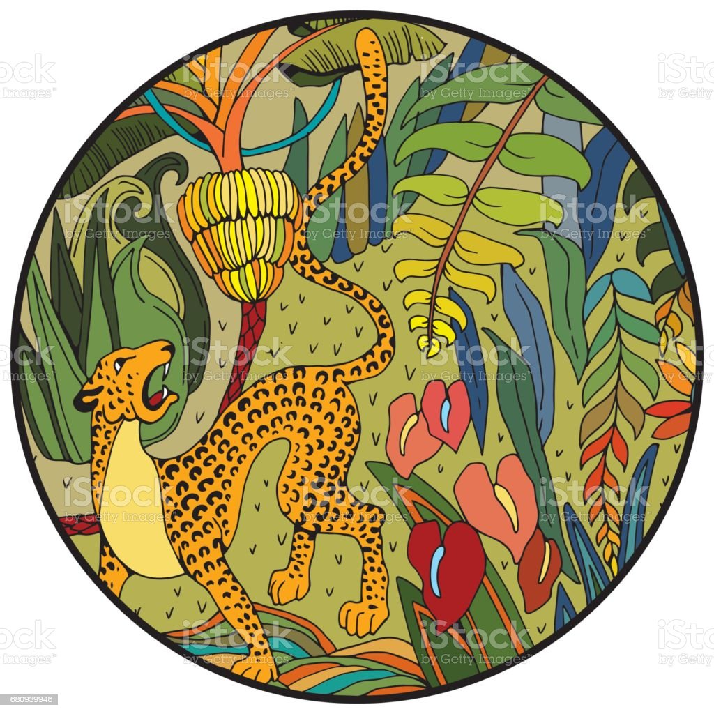 Leopard In The Jungle Coloring Page Exotic Flowers And Wild Animals ...