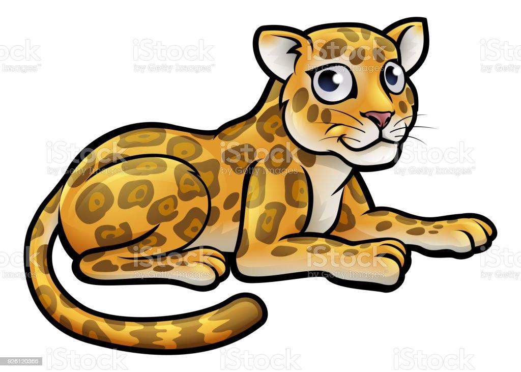 Leopard or Jaguar Cartoon vector art illustration