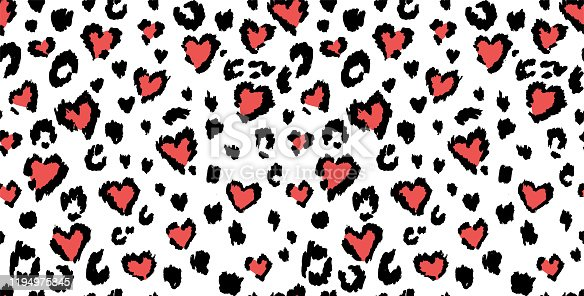 istock Leopard or jaguar print seamless pattern, textured fashion print, abstract safari background for fabric, textile. Effect of big tropical wild cat fur, spots stylized as hearts with pink camouflage 1194975845