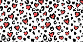 Leopard or jaguar print seamless pattern, textured fashion print, abstract safari background for fabric, textile. Effect of big tropical wild cat fur spots stylized as hearts with pink camouflage. The texture was made by using standard Procreate brush and traced before use.