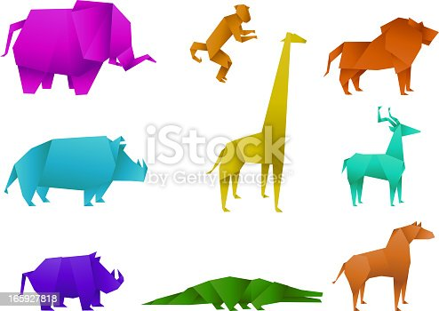 Icon set of coloured origami animals, with origami leopard, origami panther, origami lion, origami tiger, origami cougar, origami jaguar, origami monkey, origami deer, origami horse. Nine origami animal vector illustration.