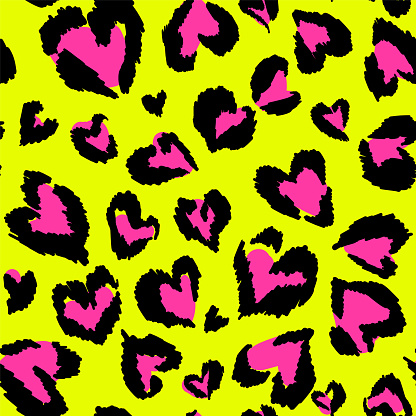 Leopard pattern. Seamless vector print. Abstract repeating pattern - heart leopard skin imitation can be painted on clothes or fabric.