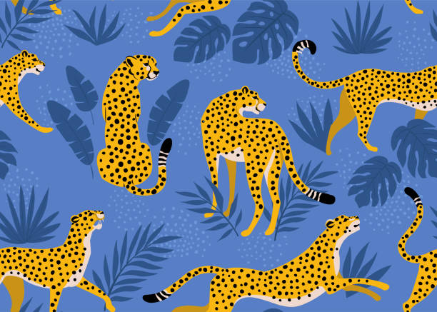 Leopard pattern with tropical leaves. Vector seamless texture. vector art illustration