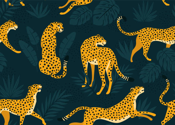 Leopard pattern with tropical leaves. Vector seamless texture. Leopard pattern with tropical leaves. Vector seamless texture. exotic animals stock illustrations