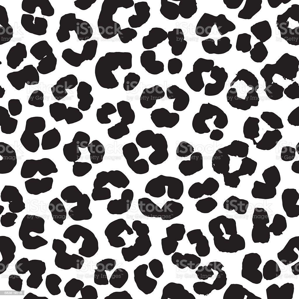 Leopard print seamless background pattern. Black and white - ilustración de arte vectorial