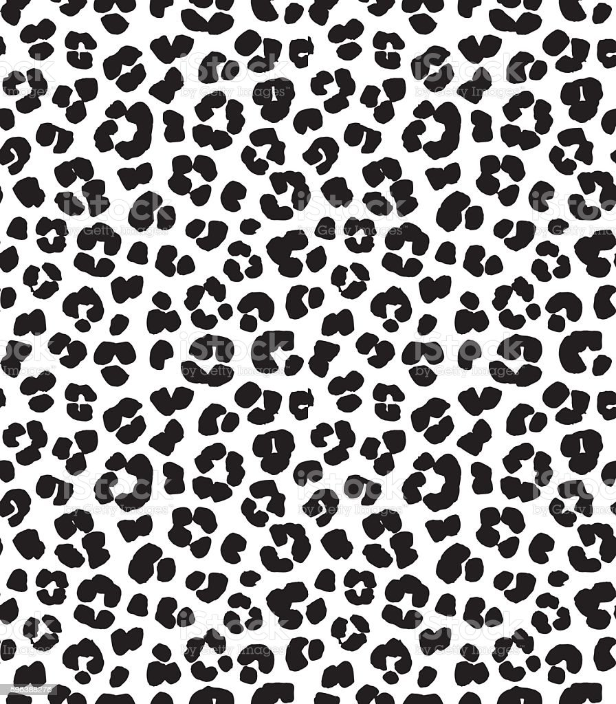 Leopard print seamless background pattern. Black and white vector art illustration