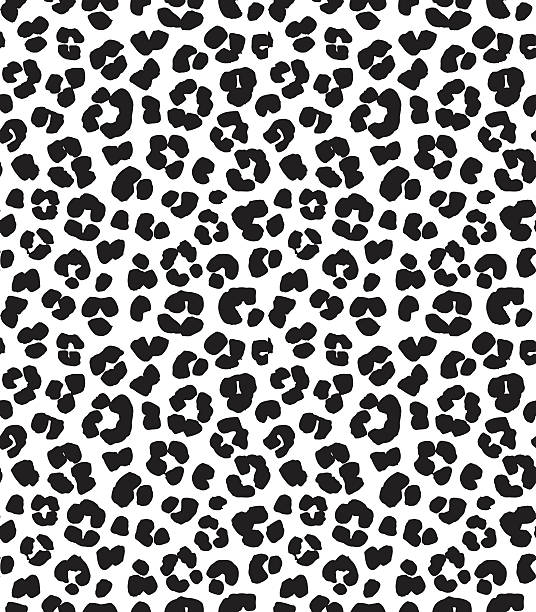 Leopard print seamless background pattern. Black and white – Vektorgrafik