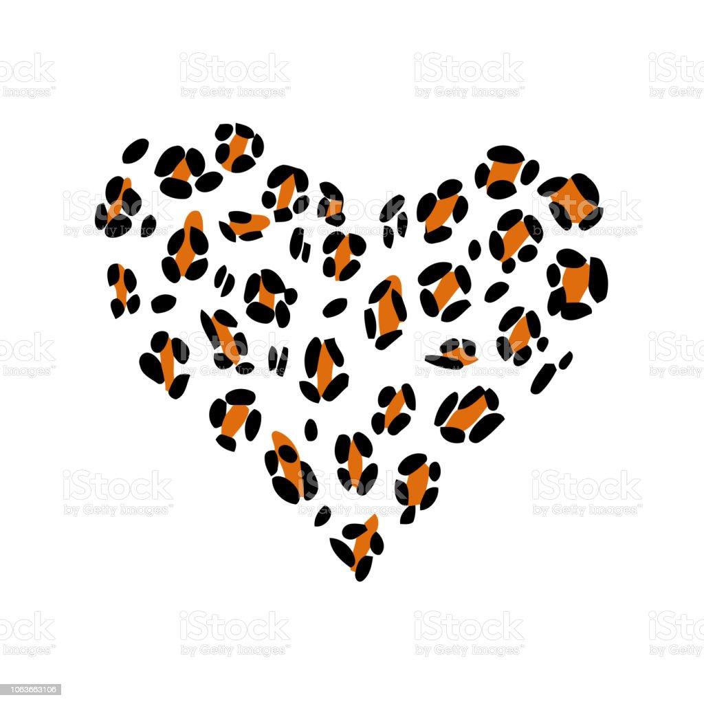 Leopard print skin in the shape of a heart.