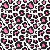 Leopard skin, hand drawn animal print Seamless Pattern. Vector Illustration.