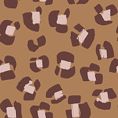 Leopard print. Mixed seamless pattern. Abstract animal skin texture. Flower motif. Floral illusion.