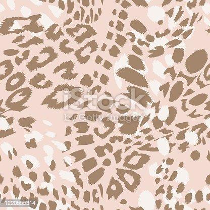 Animal skin vector seamless pattern. Leopard spots fur texture design. Vintage background.