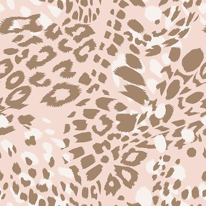 Leopard spotted print skin fur texture seamless pattern