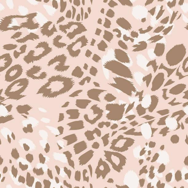 Leopard spotted print skin fur texture seamless pattern Animal skin vector seamless pattern. Leopard spots fur texture design. Vintage background. animal markings stock illustrations
