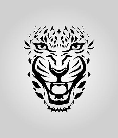 Leopard, tiger, or cougar face cut out silhouette