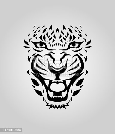 Leopard, cougar or tiger face vector cut out silhouette