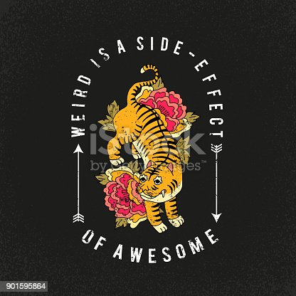 Leopard with flowers. Awesome slogan. Typography graphic print, fashion drawing for t-shirt. Vector stickers,print, patches vintage rock style
