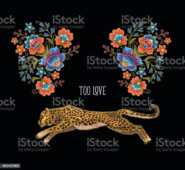 Leopard with flowers vector embroidery patches for textile design vector id842437602?b=1&k=6&m=842437602&s=612x612&h=vmulecbu7yktedykc9brpaigbjrxt9dydibqd3qfazk=